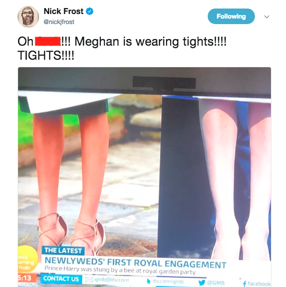 Meghan Markle was wearing tights