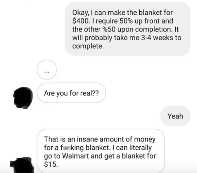 freelance crocheter's convo with cheap client