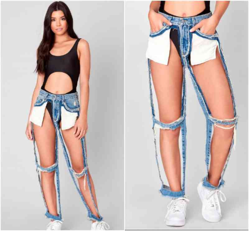 extreme cut out jeans